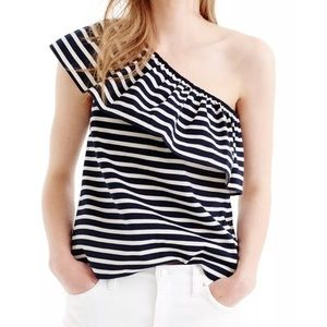 J. Crew One-shoulder top in stripes